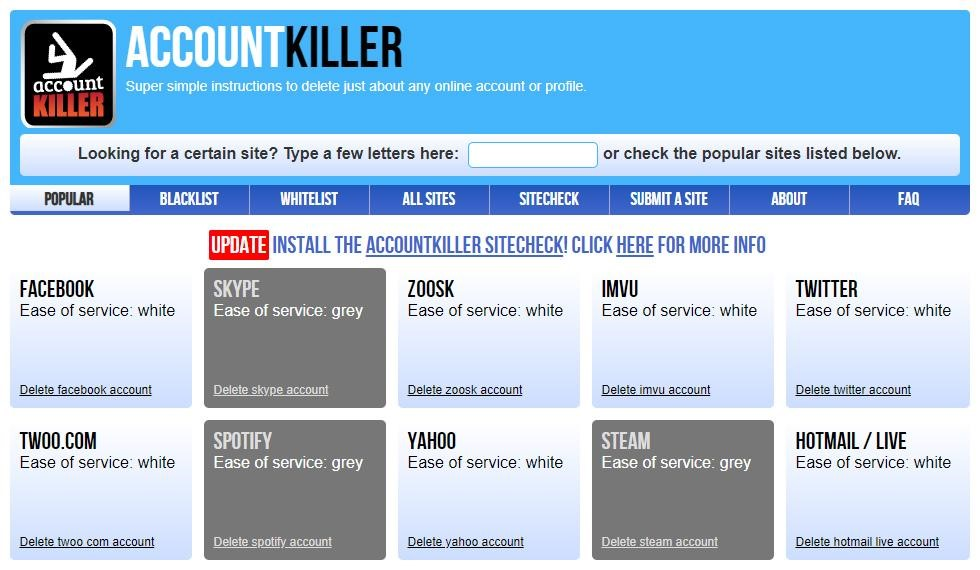 AccountKiller website
