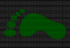 a graphic of a digital footprint on a binary background