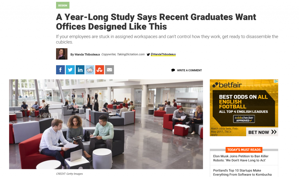 article on how young people want office space to look