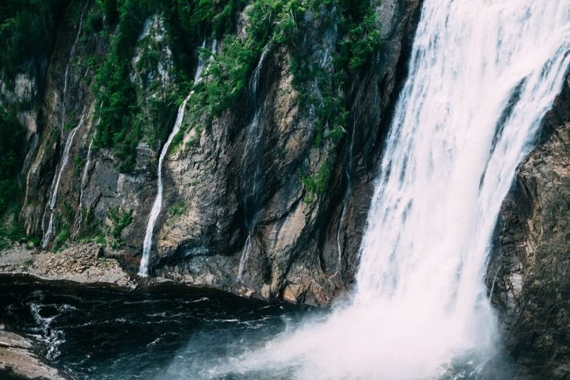 waterfall-following-rocky-mountainside