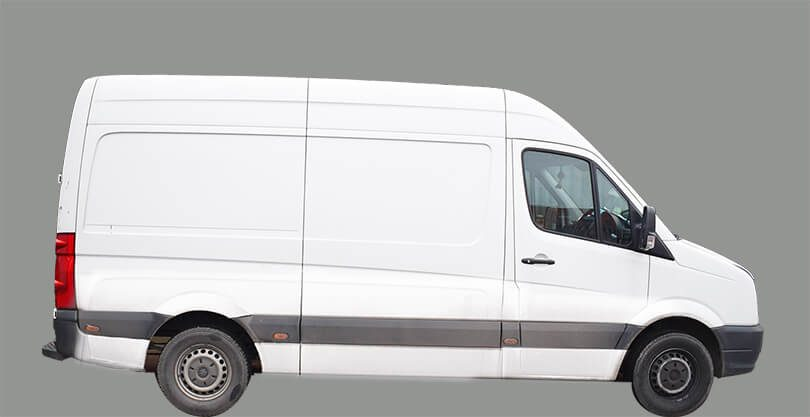 A white van against a clear grey background.