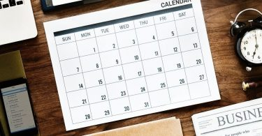 an editorial calendar on a desk