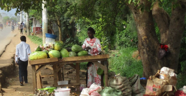 A woman works on a fruit stand on the side of a road